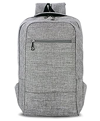 HITOP Laptop Backpack,15 Inch Dual Compartment College Lightweight Daypack (Grey)