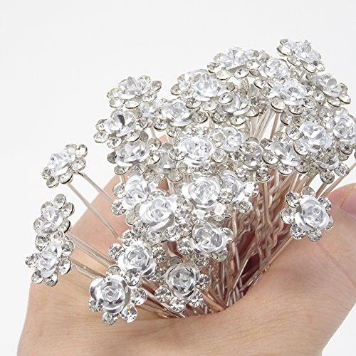 - yueton 20 Pack Wedding Bridal Flower Crystal Rhinestone Hair Pins Clips Rhinestone Hair Clips for Women and Girls