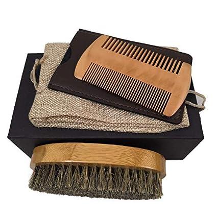 Juego de aseo masculino - Juego de peine y cepillo de cerdas de madera de jabalí