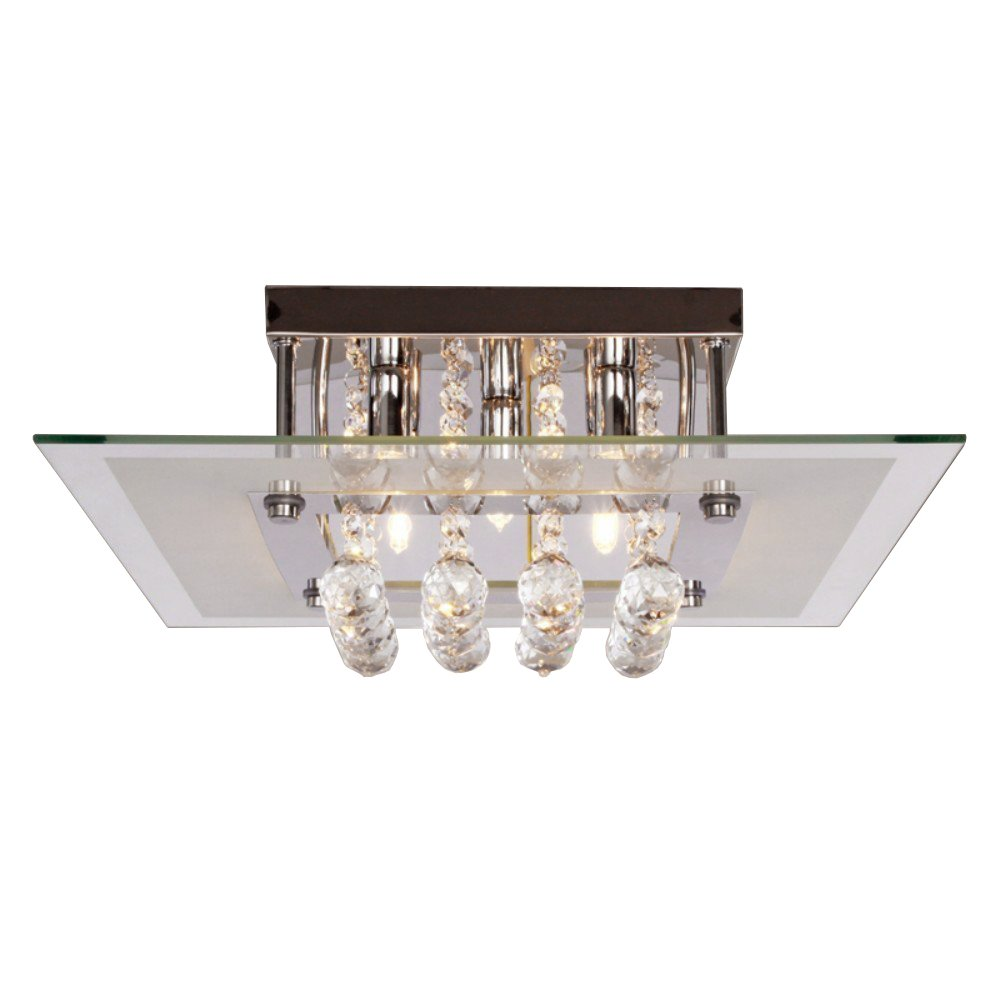 Lightess Mini Chandeliers Contemporary Crystal Drop Flush Mount Ceiling Lights Fixture with 5 Lights in Square Design