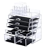 Songmics Acrylic Cosmetic/makeup Organizer Jewelry Display Boxes Bathroom Storage Case 3 Pieces Set W/ 7 Drawers UJMU07T