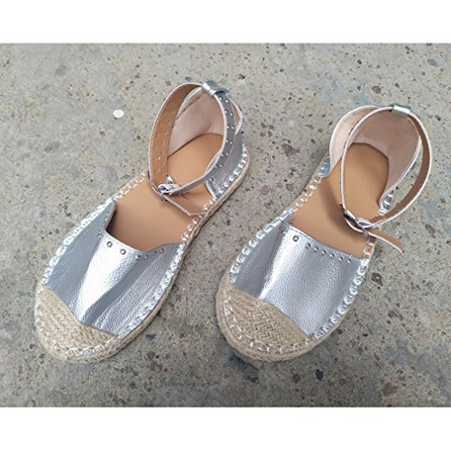 Verano Redonda 34 Correas Zapatos Planos Plateado de Sandalias Rhinestones Tobillo 42 Mujer Punta EU Twa6qIxW