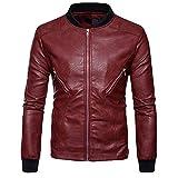 OCASHI New Men Top Long Sleeve Stand Collar Leather Jacket Autumn Winter Biker Motorcycle Zipper Outwear Warm Coat (XL, Red)