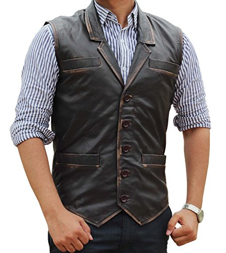 Distressed Brown Leather Vest - Button Closure Motorcycle Vest for Men | L