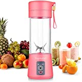 Personal Blender, Portable Juicer Cup/Electric Fruit Mixer/USB Juice Blender, Rechargeable, Six Blades In 3D For Superb Mixing, 380mL - (Pink)