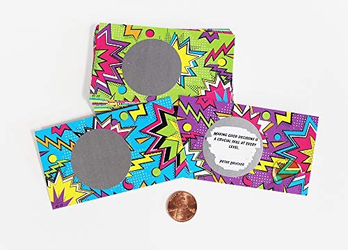 Lunch 80s Boxes (Lunchbox Note for Kids Students 80s Comic Zigzag Theme Scratch Off Lunch Box Love Note Cards with Inspirational Motivational Quotes. (Pack of 25 Cards) 10 Versions)