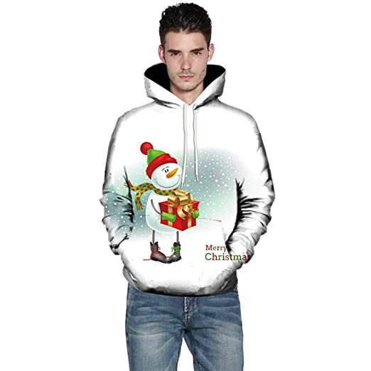 02901f94 Hunzed Men【3D Christmas Print Long Sleeve Sweater】Mens Santa Claus Hooded  Winter Warm