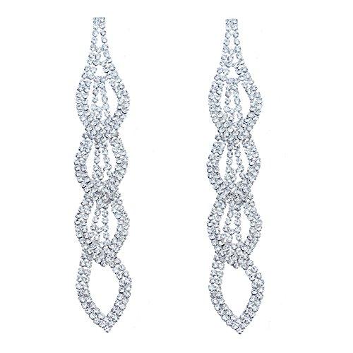 CHRAN Sparkling Rhinestone Long Drops Link Dangle Earrings Women Bridal Jewelry size 4.37