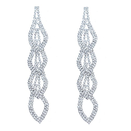 Ring Plated Rhinestone Key Silver - CHRAN Sparkling Rhinestone Long Drops Link Dangle Earrings Women Bridal Jewelry size 4.37