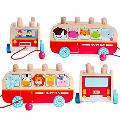 Boby Hammering Pounding Toys for Toddlers, Wooden Educational Toy Pounding Bus, Best Birthday Gift for 1 2 3 Years Old Boys and Girls: Toys & Games