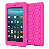 MoKo Case for All-New Amazon Fire 7 2017 (7' Tablet, 7th Generation, 2017 Release Only) - [Honey Comb Series] Light Weight Shock Proof Soft Silicone Back Cover [Kids Friendly] for Fire 7, MAGENTA