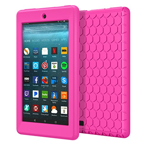 MoKo Case for All-New Amazon Fire 7 Tablet (7th Generation, 2017 Release Only) - [Honey Comb Series] Light Weight Shock Proof Soft Silicone Back Cover [Kids Friendly] for Fire 7, MAGENTA (Case Magenta Camera)
