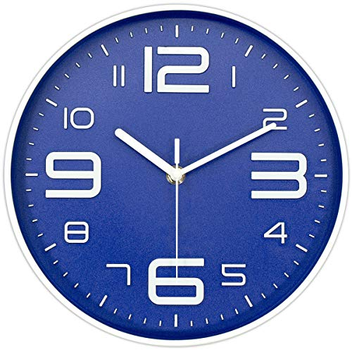 - 45Min 10-Inch 3D Number Dial Face Modern Wall Clock, Silent Non-Ticking Round Home Decor Wall Clock with Arabic Numerals, 7 Colors(Blue)