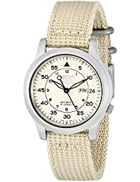 Men's SNK803 Seiko 5 Automatic Watch with Beige Canvas Strap