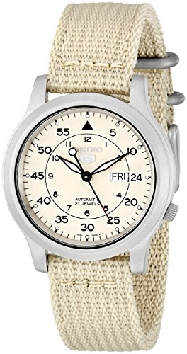 (Seiko Men's SNK803 Seiko 5 Automatic Watch with Beige Canvas Strap)