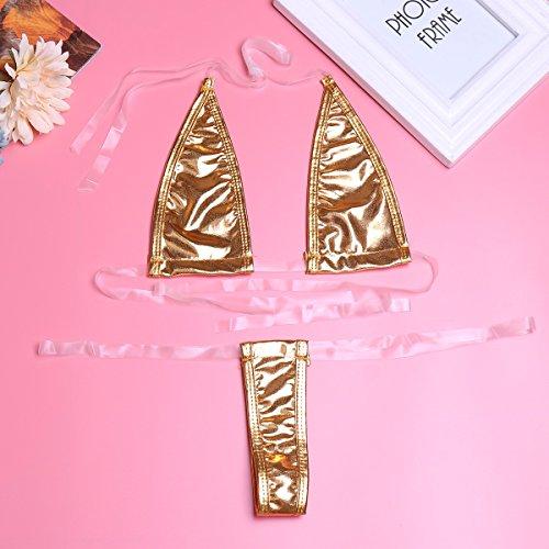 iiniim Mujeres Bikini de cuero De Bikini Traje De tres puntos De Lencería atractivo señoras Multicolor Oro