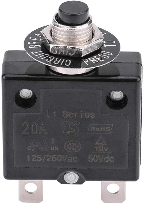 Kimiss Circuit Breaker 5a 8a 10a 15a 18a 20a 30a Reset Thermoschalter Schutzschalter Überstromschutz 20a Auto