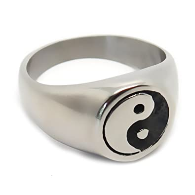 2c2aa1ae7ccf BOBIJOO Jewelry - Bague Chevalière Unisexe Homme Femme Yin (Noir) et Yang  (Blanc