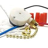 CeilingFanSwitch Zing Ear ZE-208s 3 Speed 4 Wire Rotary Control Ceiling Fan Switch - Brass Finish