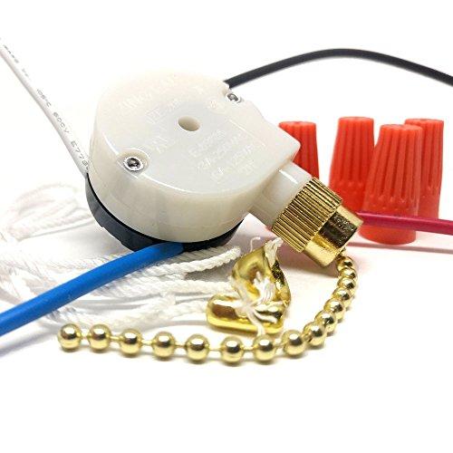 CeilingFanSwitch Zing Ear ZE-208s 3 Speed 4 Wire Rotary Control Ceiling Fan Switch - Brass Finish - 3 Speed Rotary Fan