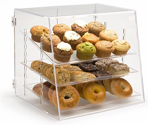 - Pastry Display Case with 3 Removable Trays, Rear Door - 19 x 17 x 16.625 Inch - Clear Acrylic