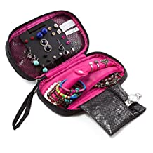 BAGSMART Small Travel Jewelry Case Organizer Carry-on Jewelry Box Portable Necklace and Earring Storage for Women