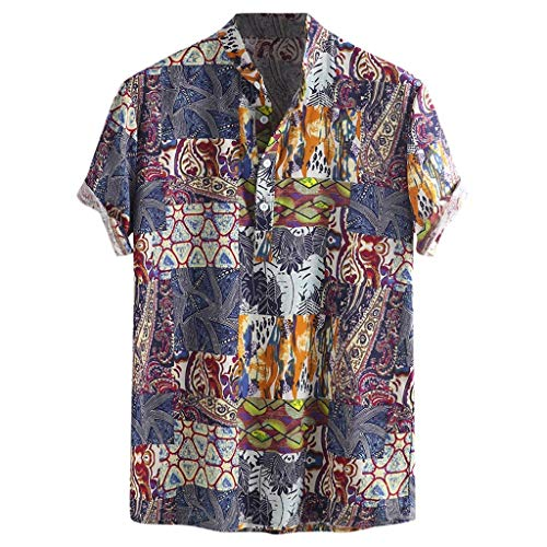 NIUQI Mens Vintage Ethnic Printed Turn Down Collar Short Sleeve Loose Casual Shirts Blue -