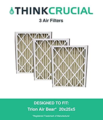 "3 Replacement Pleated Furnace Air Filters, Compatible with Trion Air Bear 255649-102 Pleated Furnace Air Filter 20x25x5 (20"" x 25"" x 5"") Merv 8, by Think Crucial"