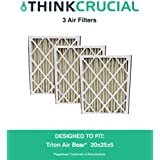 3 Replacement Pleated Furnace Air Filters, Compatible with Trion Air Bear 255649-102 Pleated Furnace Air Filter 20x25x5 (20 x 25 x 5) Merv 8, by Think Crucial