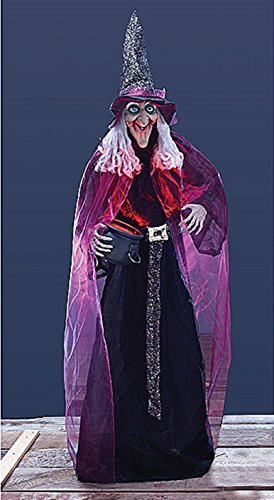 Life Size Animated Witch (Lifesize Witch With Animated Lighted Cauldron Halloween Stand Prop)