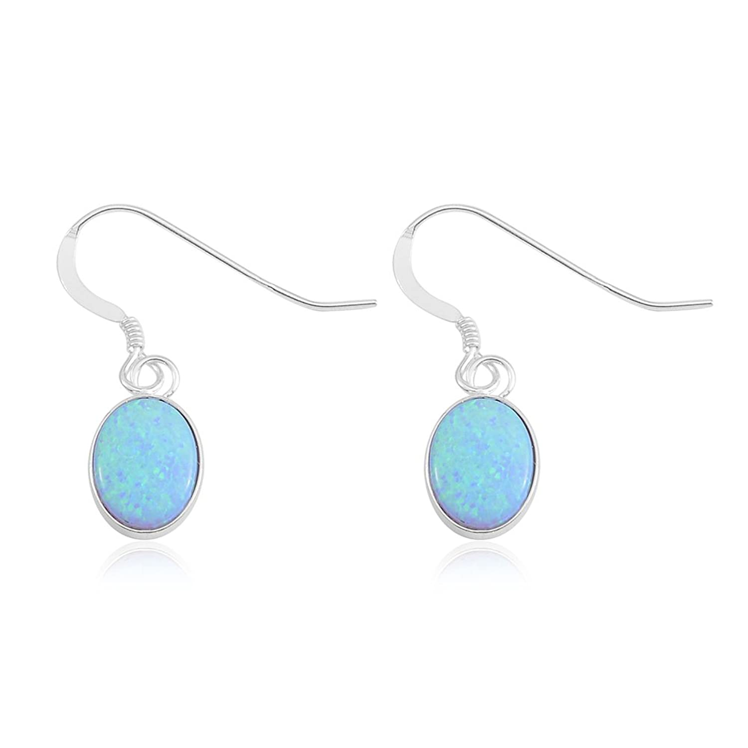 Lab Created Opal Sterling Silver Earrings