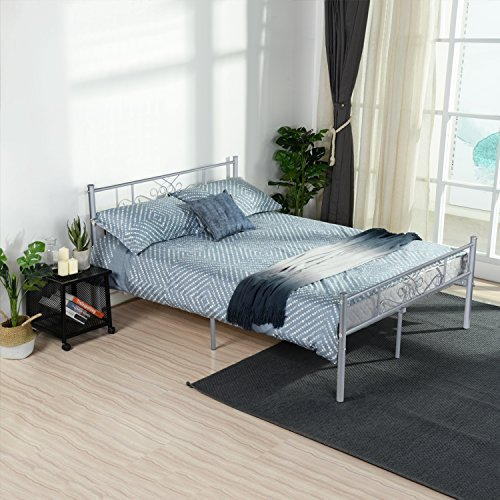 (SimLife Metal Bed Frame Full Size Steel Slat Support Mattress Foundation Platform Box Spring Replacement with with Stable Headboard and Footboard 10 Legs Design for Kids Adults Easy Assembly, Silver)