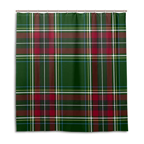 Amanda Billy Green and Red Stripe Natural Home Shower Curtain, Beaded Ring, Shower Curtain 72 x 72 Inches, Modern Decorative Waterproof Bathroom Curtains