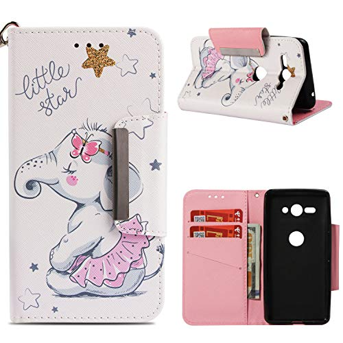 Leather Wallet Case for Sony Xperia XZ2 Compact,Shinyzone Cute Cartoon Animal Elephant Painted Pattern Flip Stand Case,Wristlet & Metal Magnetic Closure Protective Cover by Shinyzone