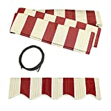 ALEKO FAB13X10MSTRED19 Retractable Awning Fabric Replacement 13 x 10 Feet Multi-Stripe Red