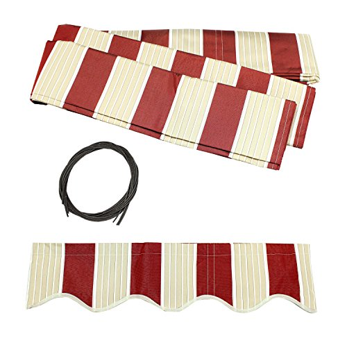 ALEKO FAB20X10MSTRED19 Retractable Awning Fabric Replacement 20 x 10 Feet Multi-Stripe Red by ALEKO