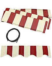 ALEKO Fabric Replacement 10X8-Feet for Retractable Awning, Multistripe Red