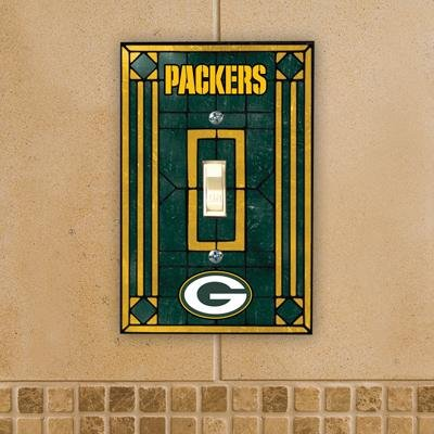 Green Bay Packers Art Glass Lightswitch Cover (Football Switchplate Cover)