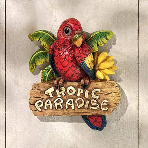 Design Toscano Tropic Parrot Paradise Wall Sculpture, Full Color
