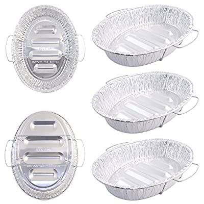 "Pack of 5 Extra Large Disposable Aluminum Foil Roasting Pans with Handles, Oval Shape, Extra Large Size, 18-1/2"" X 14"" X 3-3/8"" Deep"