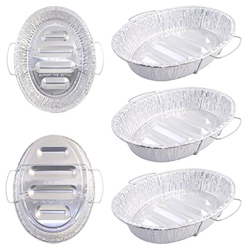 Pack of 5 Extra Large Disposable Aluminum Foil Roasting Pans with Handles, Oval Shape, Extra Large Size, 18-1/2