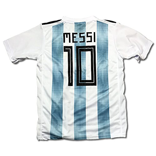 技術モンキー湿原サッカーユニフォーム 2017-2018モデル アルゼンチン代表 ホーム リオネル?メッシ 背番号10 レプリカサッカーユニフォーム 大人用