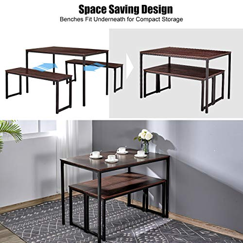 Amerlife Dining Table Set with 2 Benches Modern Wood Top Studio Soho Kitchen 3 Piece Dining Furniture Set for 4 People, Metal Frame, 43.3 L x 27.6 D x 29.9 H, Brown