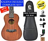 Kalena Factory Direct Mahogany Concert Ukulele Wood Variations Series with instruction book, strap, tuner, extra strings, felt picks, complete set for all ages (Warm Mahogany Traditional)