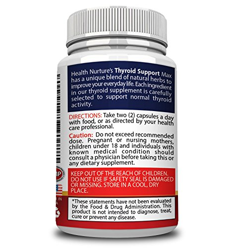 HEALTH NURTURE THYROID SUPPORT MAXIMUM STRENGTH- Best Thyroid Support - Promotes Healthy Energy, Metabolism, Mental Clarity & Focus : Vitamin B12 Complex, Zinc, Selenium, Ashwagandha, Copper, Coleus F by Health Nurture (Image #2)