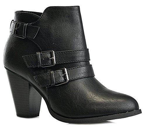 Women's Chunky Block Heel Booties Buckle Strap Fashion Shoes Dress Ankle Boots