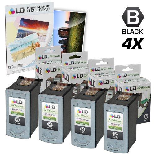 UPC 843964036650, LD © Remanufactured Canon PG30 Set of 4 Black Inkjet Cartridges & Free 20 Pack of LD Brand 4x6 Photo Paper