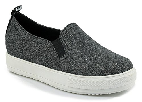 Women's Fashion Sneakers with Low Cut (Black) - 6