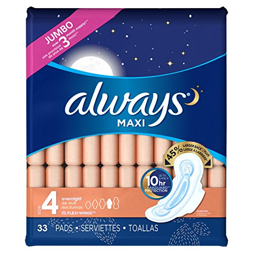 (Always Maxi Size 4 Overnight Pads with Wings, Unscented, 33)