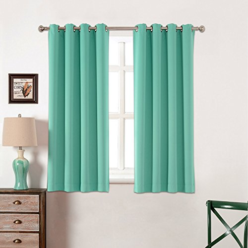 AMAZLINEN Toxic Free 52 W X 63 L Inch Grommet Top Blackout Curtains For  Kids Thermal Insulated,Set Of 2 Panels With Bonus Tie Back (Light Teal)
